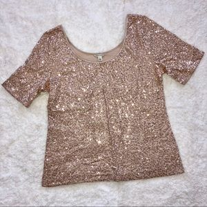 Banana Republic Rose Gold Sequined Top